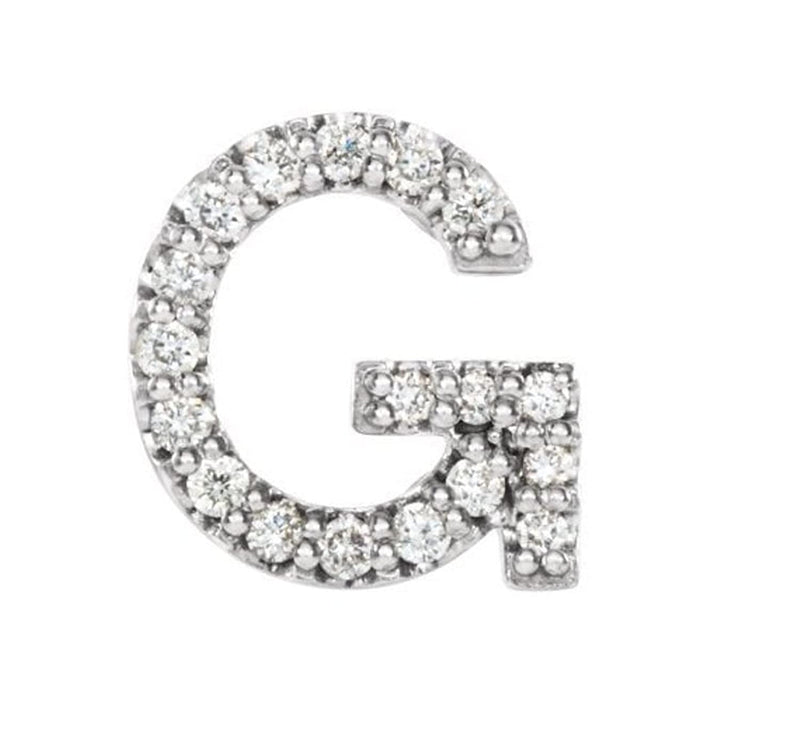 Platinum Diamond Letter 'G' Initial Stud Earring (Single Earring) (.06 Ctw, GH Color, SI2-SI3 Clarity)