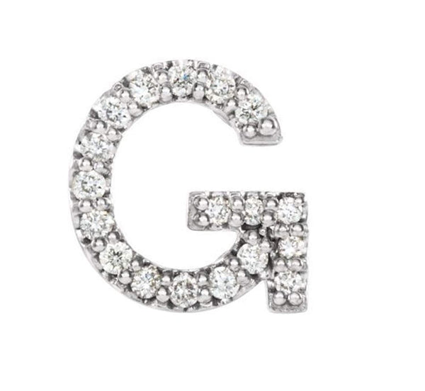 Sterling Silver Diamond Letter 'G' Initial Stud Earring (Single Earring) (.06 Ctw, GH Color, I1 Clarity)