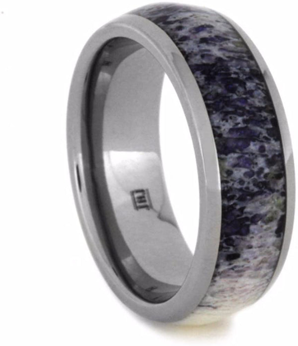The Men's Jewelry Store (Unisex Jewelry) Purple Deer Antler Inlay 7mm Comfort-Fit Polished Titanium Wedding Band, Size 6