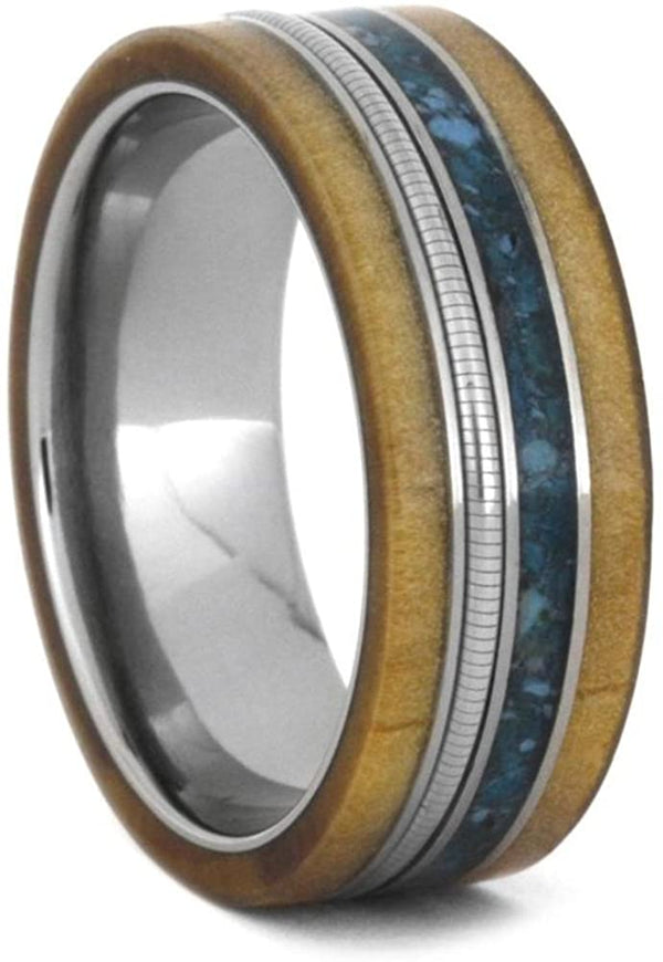 Crushed Turquoise, Rowan Wood, Cello String, 8mm Titanium Comfort-Fit Wedding Band, Size 4.25