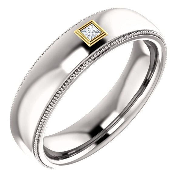 Men's Rhodium-Plated 14k White Gold Diamond and 14k Yellow Gold 6mm Milgrain Band (.05 Ctw, Color G-H, SI2-SI3 Clarity) Size 10.75