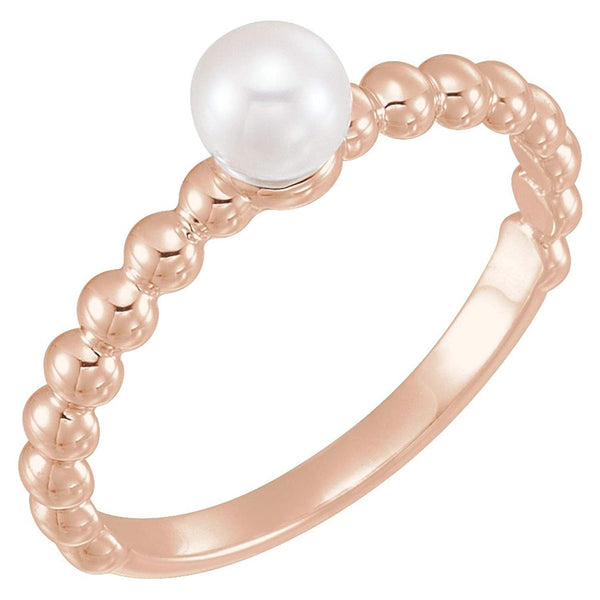 White Freshwater Cultured Pearl Stackable Beaded Ring, 14k Rose Gold (4.5-5mm)