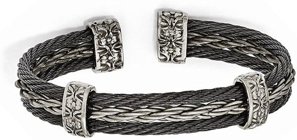 Men's Matte Grey 6/4 Titanium and Black Titanium Memory Cable Cuff Bracelet, 7""