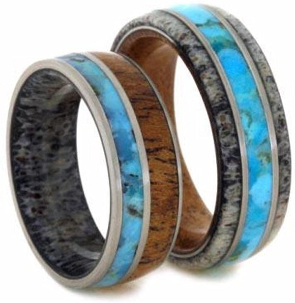 Turquoise, Mesquite Wood, Deer Antler Ring, Men's Turquoise, Antler, Mesquite Wood Ring, His and Hers Wedding Band Set, M16-F8.5