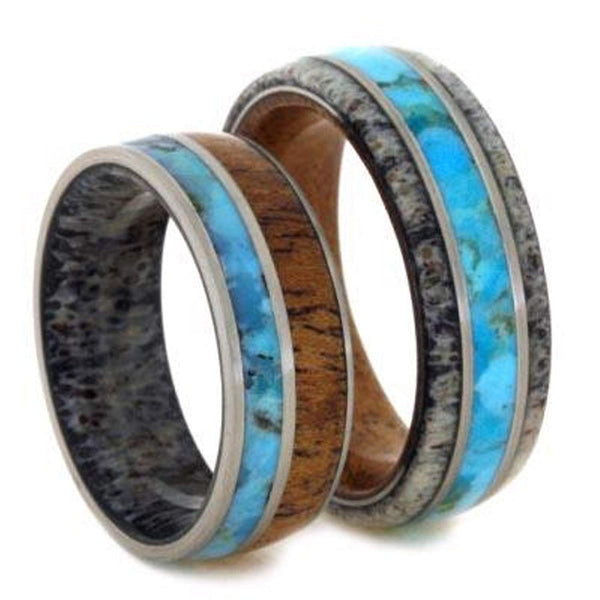 Turquoise, Mesquite Wood, Deer Antler Ring, Men's Turquoise, Antler, Mesquite Wood Ring, His and Hers Wedding Band Set