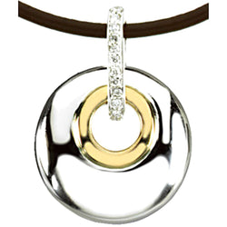 "Diamond Two-Tone Circle 14k Yellow Gold and Sterling Silver Pendant Necklace, 18"" (.70 Ctw)"