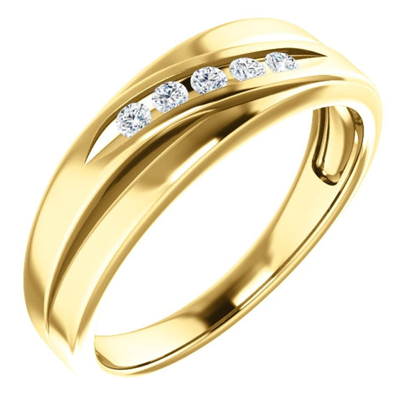 Men's 7-Stone Diamond Wedding Band, 14k Yellow Gold (.16 Ctw, Color G-H, SI2-SI3 Clarity) Size 10