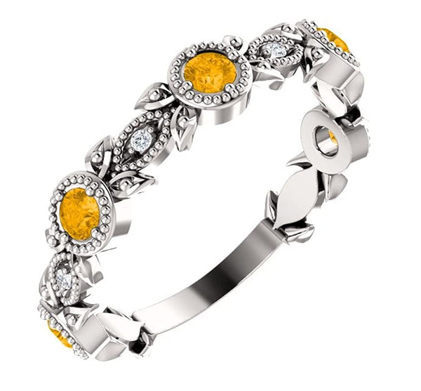 Platinum Citrine and Diamond Vintage-Style Ring (0.03 Ctw, G-H Color, SI1-SI2 Clarity)