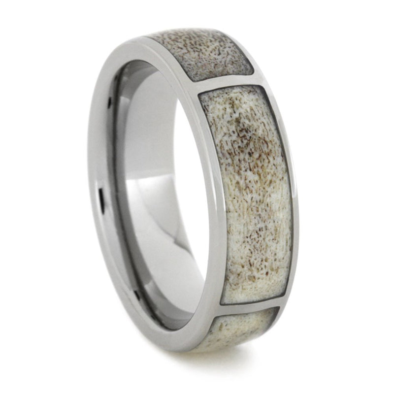 Antler Inlay 6mm Comfort-Fit Titanium Hunters Wedding Band