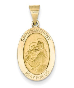 14k Yellow Gold St. Anthony Medal Pendant (22X13MM)