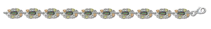 Mystic Fire Topaz with Scrollwork Bracelet, Sterling Silver, 12k Green and Rose Gold Black Hills Gold Motif, 7.38""