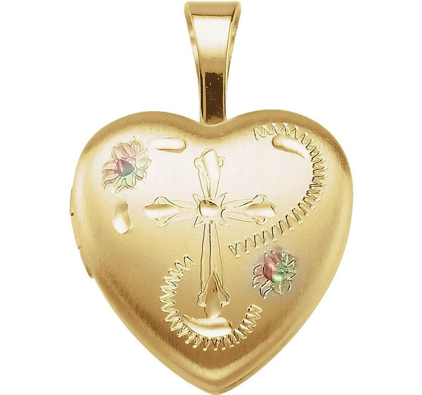 Satin-Brush Heart with Cross and Enameled Flowers 14k Yellow Gold Plated Sterling Silver Locket(12.50X12.00 MM)