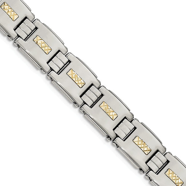 Men's Stainless Steel with 14k Yellow Gold Diamond-Cut Link Bracelet, 8""