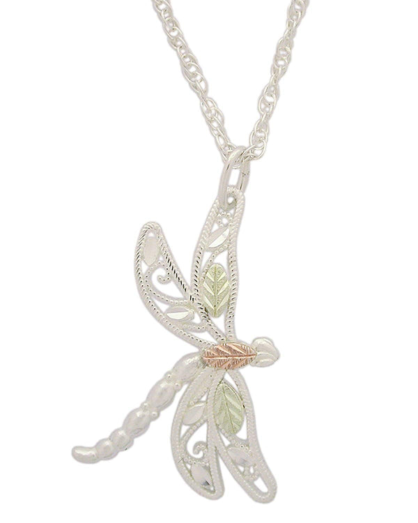 Dragonfly Pendant Necklace, Sterling Silver, 12k Green and Rose Gold Black Hills Gold Motif, 18''