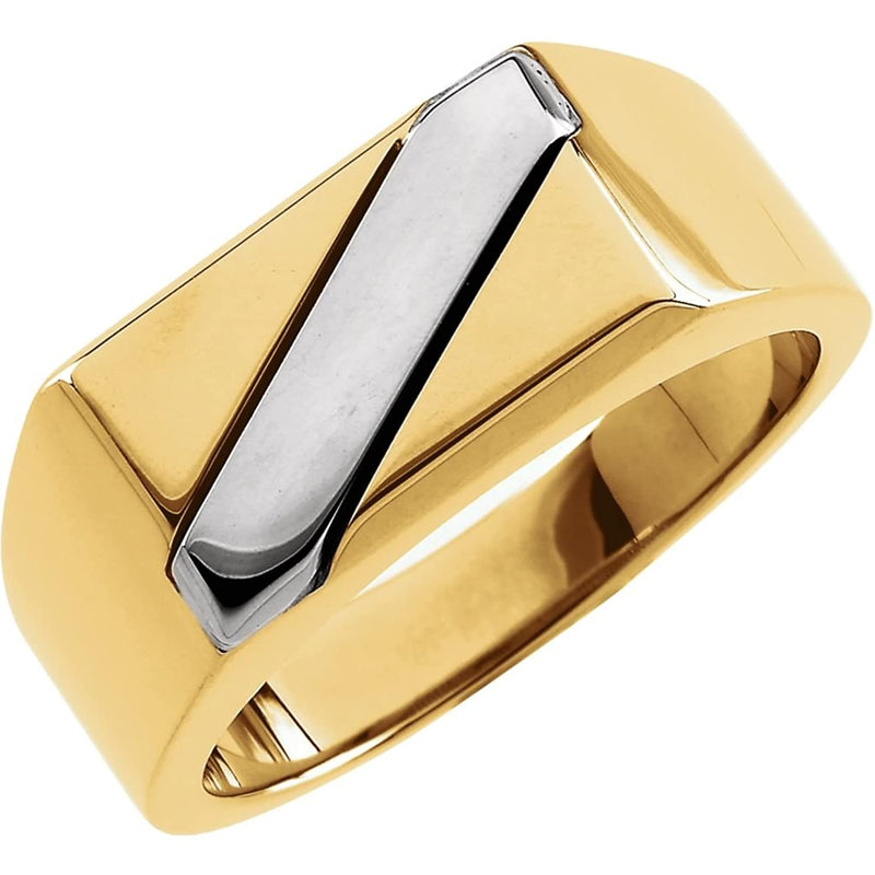 Men's Rhodium Plate 18k Yellow White Gold 9mm Flat Band