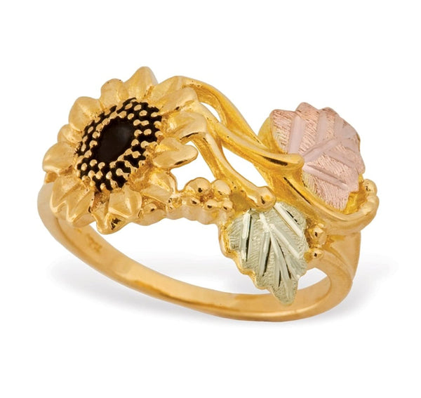 Antiqued Sunflower Ring, 10k Yellow Gold, 12k Green and Rose Gold Black Hills Gold Motif