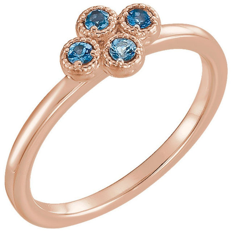 Aquamarine Quatrefoil Ring, 14k Rose Gold