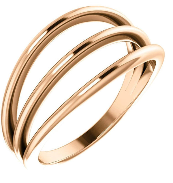 3 Row Negative Space Ring, 14k Rose Gold