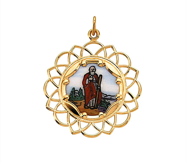 10k Yellow Gold St. Jude Framed Enamel Pendant (26MM)