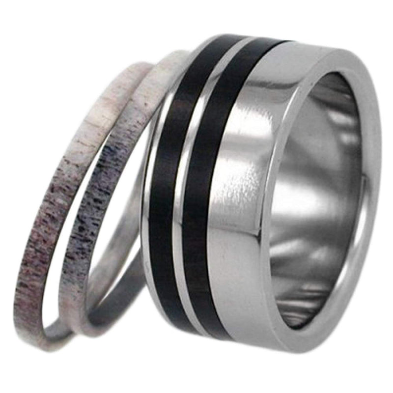 Deer Antler or Wood Stripes 10mm Comfort-Fit Interchangeable Titanium Ring, Size 11.5