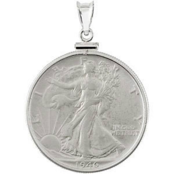 Walking Liberty Half Dollar Sterling Silver Coin in a Sterling Silver Coin Frame Pendant