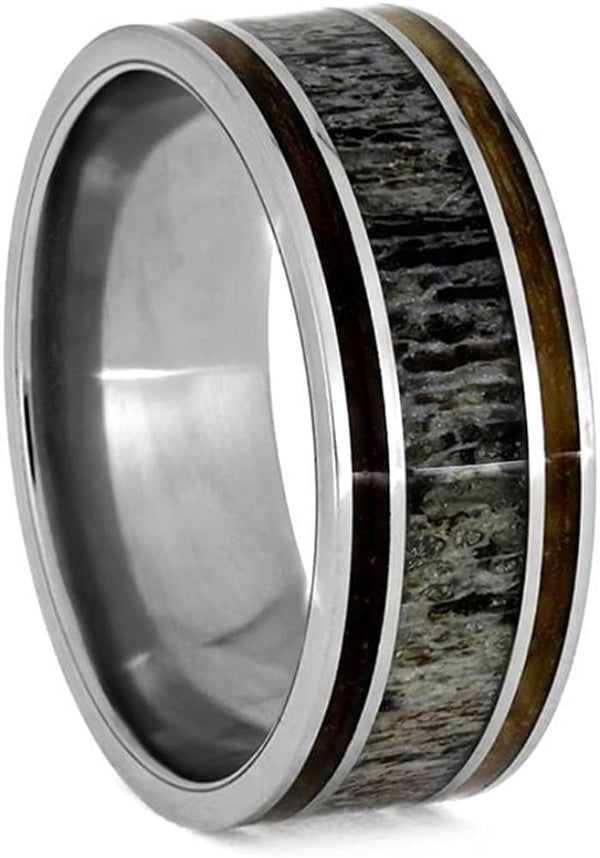 Deer Antler, Whiskey Barrel Oak Wood 9mm Titanium Comfort-Fit Wedding Ring, Size 10