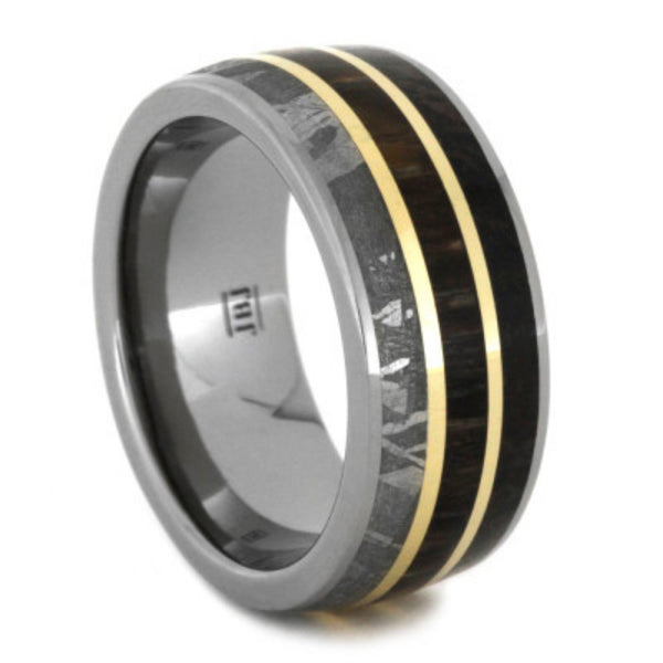 Gibeon Meteorite, Dinosaur Bone, Petrified Wood, 14k Yellow Gold 9mm Comfort-Fit Titanium Wedding Band