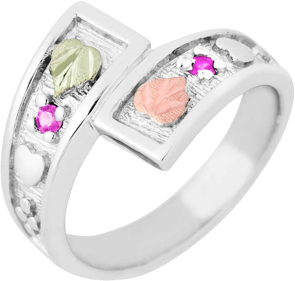 October Birthstone Created Rose Zircon Bypass Ring, Sterling Silver, 12k Green and Rose Gold Black Hills Silver Motif, Size 9.5