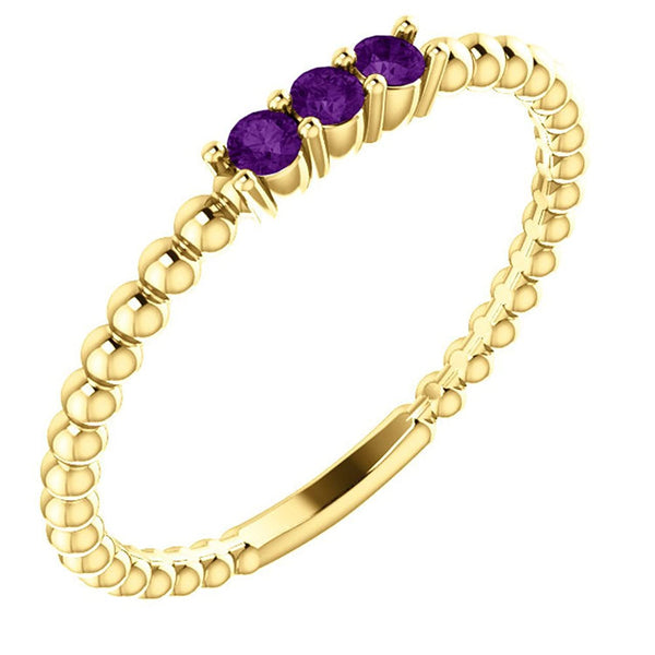 Amethyst Beaded Ring, 14k Yellow Gold, Size 7
