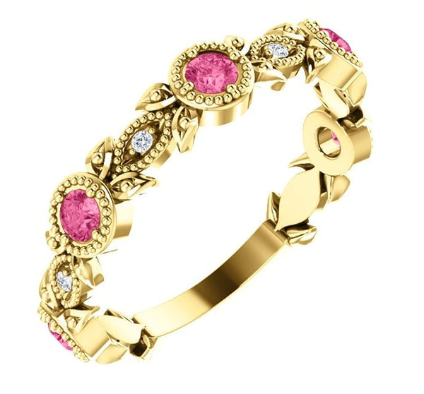 Pink Tourmaline and Diamond Vintage-Style Ring, 14k Yellow Gold, Size 7.75