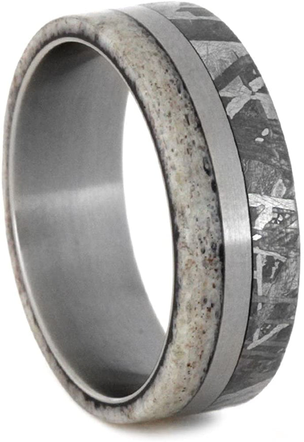 Gibeon Meteorite, Deer Antler 7mm Comfort-Fit Matte Titanium Wedding Band , Size 6