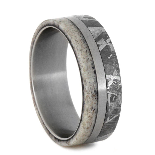 Gibeon Meteorite, Deer Antler 7mm Comfort-Fit Matte Titanium Wedding Band