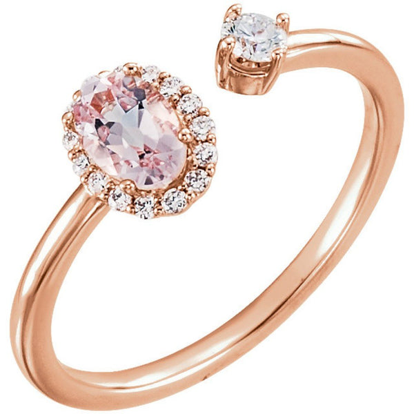 Diamond and Morganite Two-Stone Halo-Style Ring, 14k Rose Gold (.16 Ctw, G-H Color, I1 Clarity)