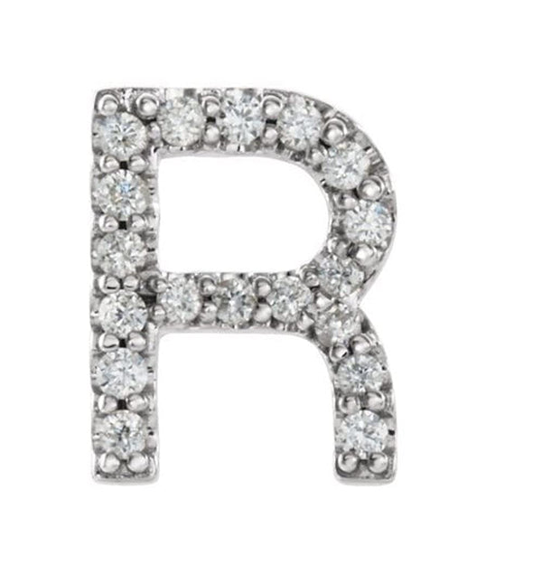 Rhodium-Plated 14k White Gold Diamond Letter 'R' Initial Stud Earring (Single Earring) (.07 Ctw, GH Color, I1 Clarity)