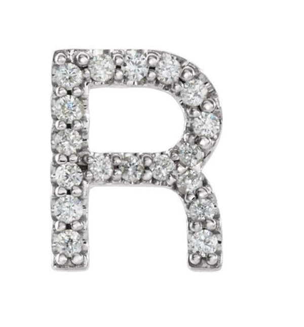 Sterling Silver Diamond Letter 'R' Initial Stud Earring (Single Earring) (.07 Ctw, GH Color, I1 Clarity)