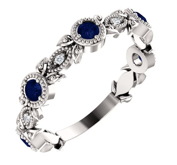 Platinum Blue Sapphire and Diamond Vintage-Style Ring (0.03 Ctw, G-H Color, SI1-SI2 Clarity)