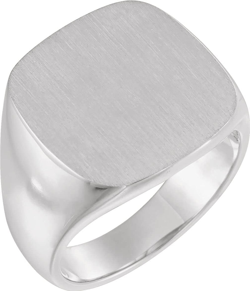 Men's Closed Back Signet Ring, Rhodium-Plated 10k White Gold (18mm)