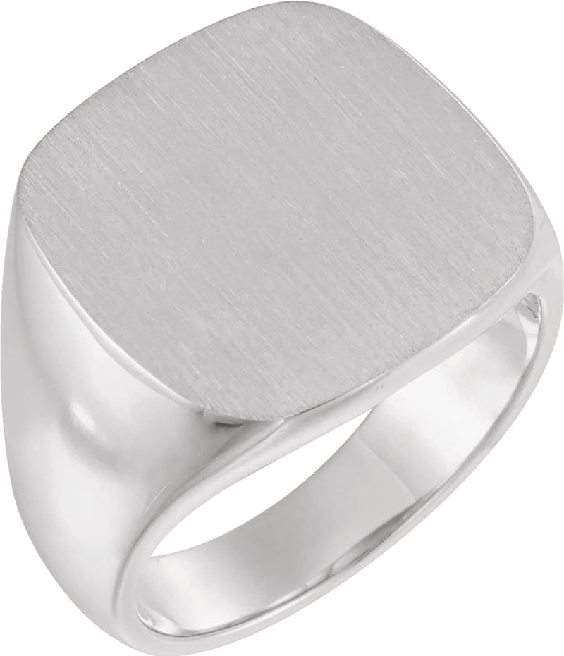 Men's Closed Back Square Signet Ring, Continuum Sterling Silver (18mm) Size 8.75
