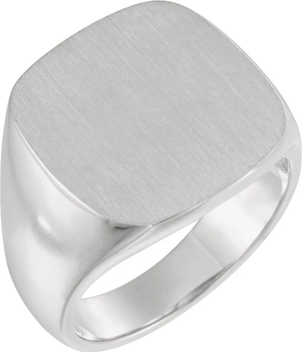 Men's Closed Back Signet Semi-Polished 14k White Gold Ring (18mm) Size 12.5