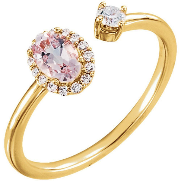 Diamond and Morganite Two-Stone Halo-Style Ring, 14k Yellow Gold (.16 Ctw, G-H Color, I1 Clarity)