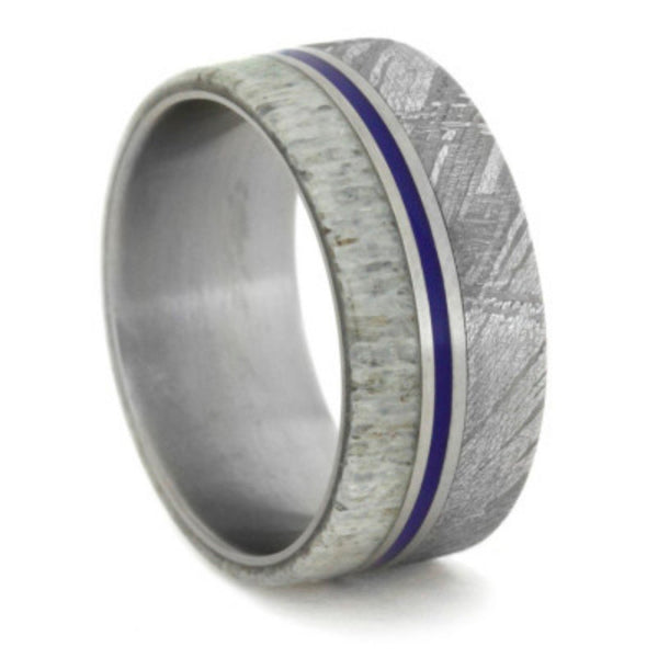 Gibeon Meteorite, Deer Antler, Blue Enamel Pinstripe 9mm Comfort-Fit Matte Titanium Wedding Band