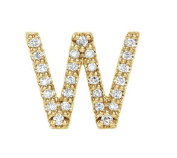14k Yellow Gold Gold Diamond Letter 'W' Initial Stud Earring (Single Earring) (.08 Ctw, GH Color, I1 Clarity)