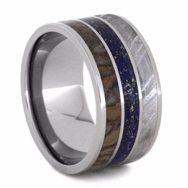 Lapis Lazuli, Dinosaur Bone, Gibeon Meteorite 12mm Comfort-Fit Titanium Wedding Band