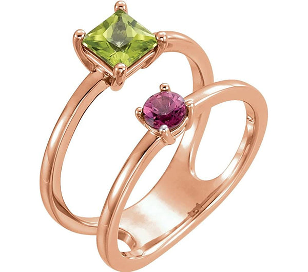 Peridot and Pink Tourmaline Two-Stone Ring, 14k Rose Gold, Size 6