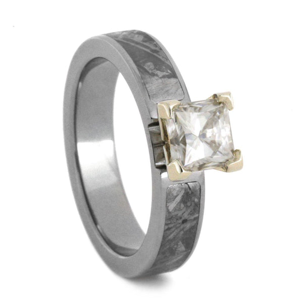 Charles & Colvard Moissanite, Gibeon Meteorite 4mm Comfort-Fit Titanium Engagement Ring