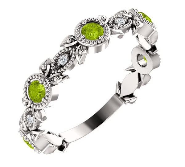 Peridot and Diamond Vintage-Style Ring, Rhodium-Plated Sterling Silver (0.03 Ctw, G-H Color, I1 Clarity)