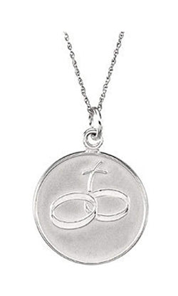 "Loss of a Spouse 14k White Gold Pendant Necklace, 18"" (20X20 MM)"