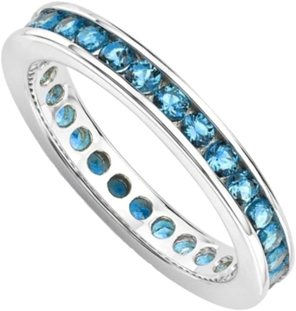 The Men's Jewelry Store (for HER) Aqua Blue CZ Mirror Polished Rhodium Plated Sterling Silver Eternity Ring