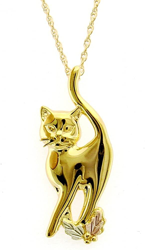 Pretty Kitty Pendant Necklace, 10k Yellow Gold, 12k Green and Rose Gold Black Hills Gold Motif, 18""