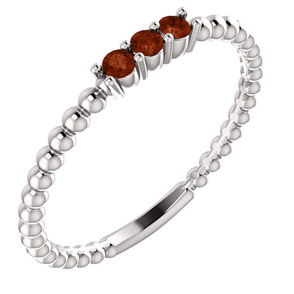 Platinum Mozambique Garnet Beaded Ring, Size 6